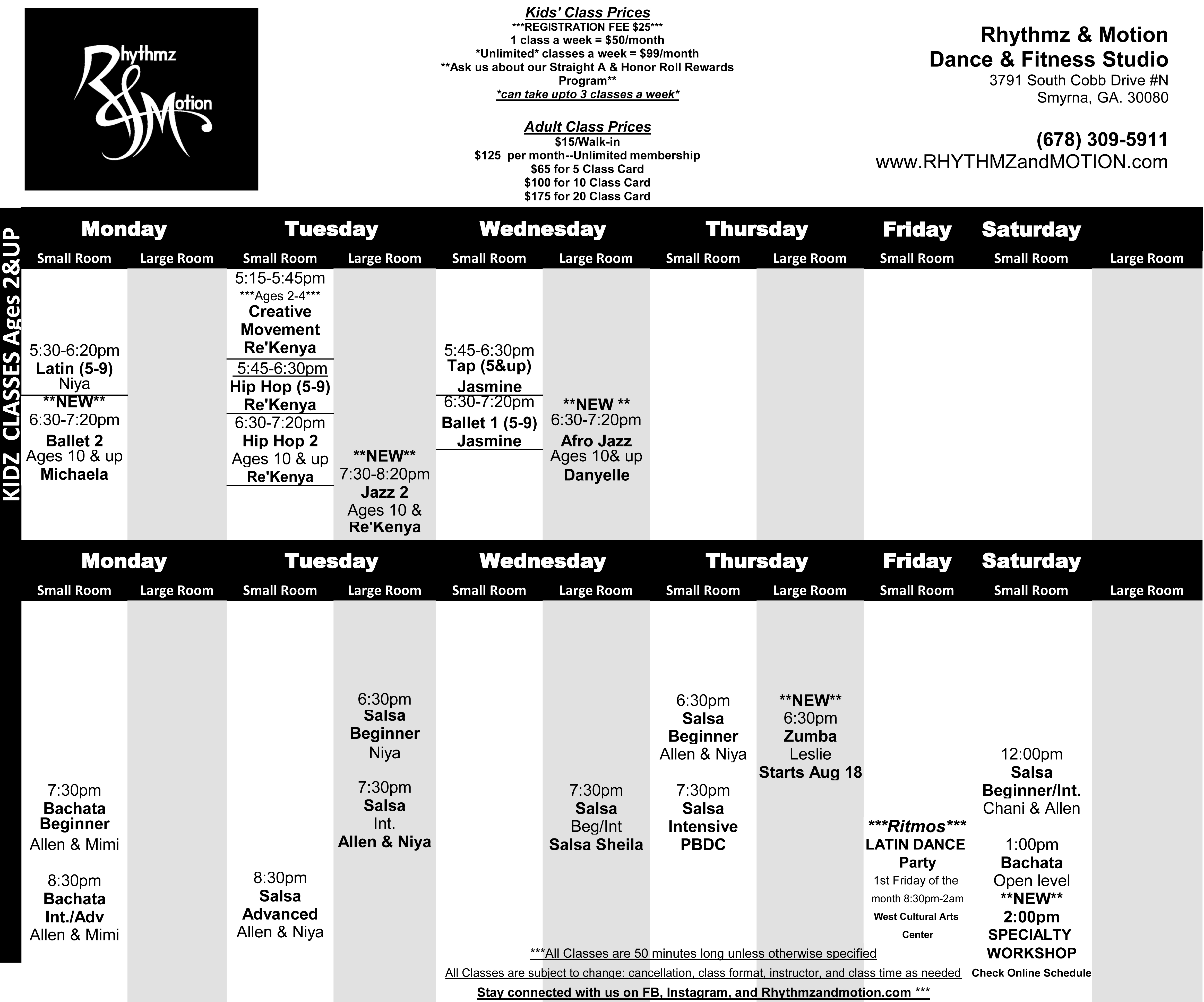 R&M Studio Schedule 2016 BLACK & WHITE (1)